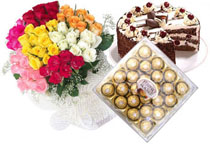 50 Mix roses bouquet with a kg of cake and 24 pc ferrero rocher chocolates