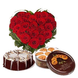 30 red roses heart with 1 kg cake and box of fresh cookies