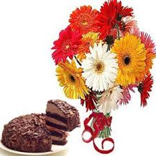 30 Mix gerberas bouquet and 1 kg chocolate cake