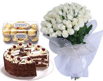 30 White roses bouquet with 16 ferrero rocher chocolates and 1 kilo cake