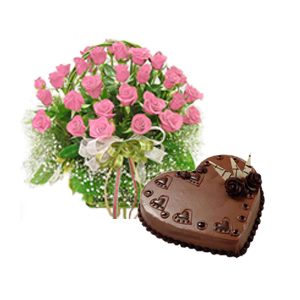 30 Pink roses basket with 1 kg cake