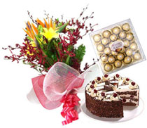 24 Mix flowers bouquet with 1 kg cake and 24 pc ferrero rocher chocolates