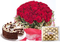 100 red roses with 24 ferrero rocher and a kilo of cake