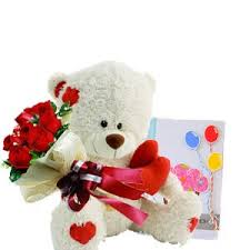 Greeting card 6 red roses and teddy bear 6 inches