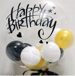 Clear transparent bubble with 3 balloons inserted inside big bobo balloon with letter happy birthday
