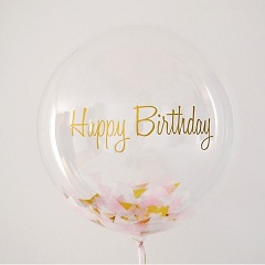 Clear transparent bubble bobo balloon with letter happy birthday