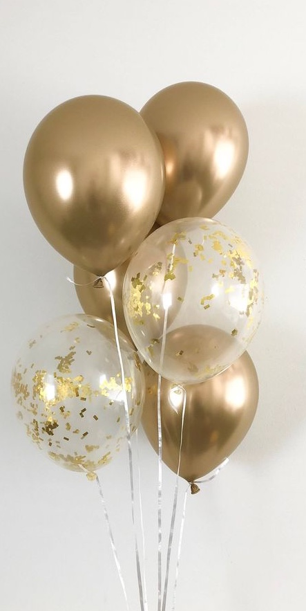6 Gas filled gold and gold confetti white Balloons tied to ribbons