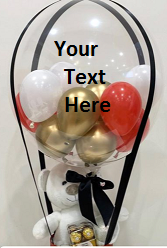 Transparent Balloon Printed WITH YOUR TEXT in 3 words only Tied with ribbons to a basket of teddy and 16 ferrero chocolate box