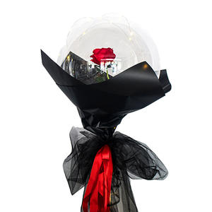 Clear transparent bubble with red rose black wrapping