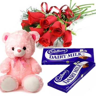 6 roses bouquet, teddy and 4 chocolates