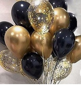 40 helium Gas filled gold confetti black Balloons tied to ribbons