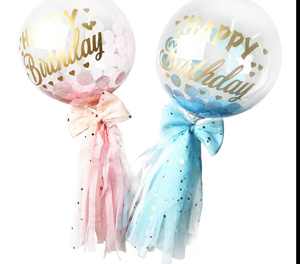 2 Clear pink blue transparent bubble balloons with letter happy birthday on balloons