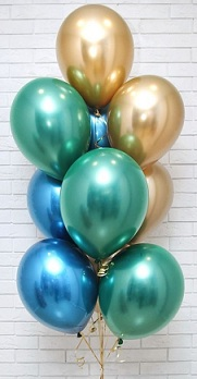 10 Helium Gas filled gold green blue Balloons tied to ribbons
