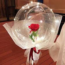 1 red rose Inside 1 transparent balloons with Fairy lights