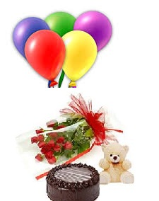 5 Air Balloons 1/2 Kg Cake 12 Red Rose Bouquet 6 inches Teddy