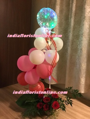 Led Light balloon Pink red white balloons arrangement with roses For Pune Mumbai Dehradun