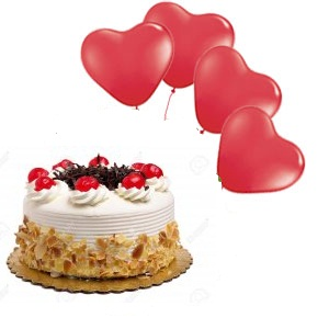 4 Red heart Air Balloons 1/2 Kg eggless Black forest cake