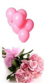 6 Air Blown Pink Balloons with 12 Pink roses