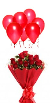 6 Air Blown Red Balloons with 12 Red roses