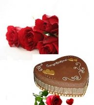 2 kg Heart Shaped Cake with 5 roses