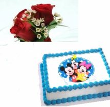 Mickey cake 2 kg with 3 roses