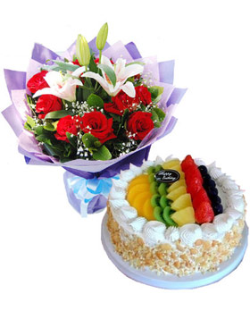 1 2 Kg Cake And Flowers Bouquet