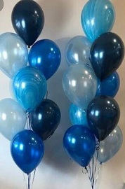 30 Gas filled gold blue confetti Balloons tied to ribbons