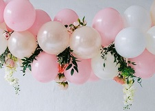 15 pink white small large air balloons with leaves and flowers