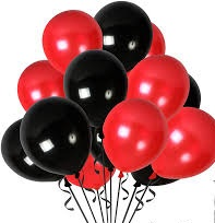 10 Gas filled black and red Balloons tied to ribbons