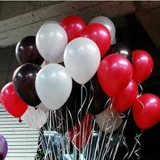 10 Gas filled red and white black helium Balloons tied to ribbons