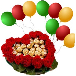 16 Ferrero chocolates in the middle of 20 roses heart with 8 Air Filled Balloon