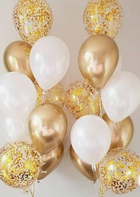 15 Gas filled gold and gold confetti white Balloons tied to ribbons