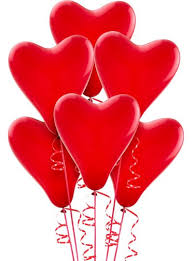 30 heart shaped gas balloons