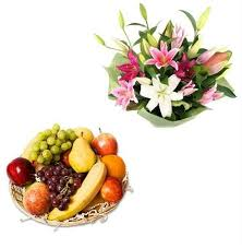 Basket of lilies and fruit basket