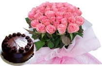 1/2 kg cake and flowers bouquet