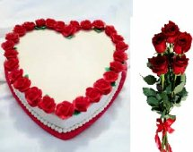 1 Kg heart black forest white icing border red roses and 5 red roses free