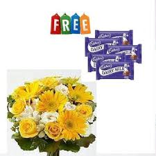 gerberas bouquet with chocolates