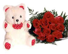 12 Red roses bouquet with teddy bear