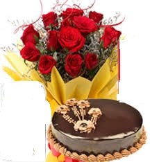 1 kg ferrero rocher eggless cake with 6 roses