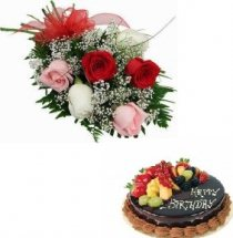 1/2 kg Chocolate fruit cake with 5 mix roses hand tied