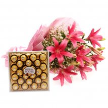 24 Pieces Ferrero Rocher Chocolates with Pink Lilies bouquet