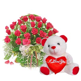 50 roses in a basket with 1 foot teddy bear