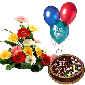 ba77e07268d1 Gerberas with 2 pound Chocolate cake and 3 balloons