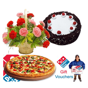 Pizza with 12 carnations basket  1 pound cake and card