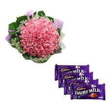 12 pink roses posy, 2 chocolates