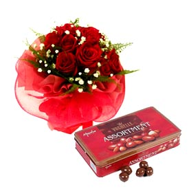 20 red roses bouquet with Vouchelle chocolates