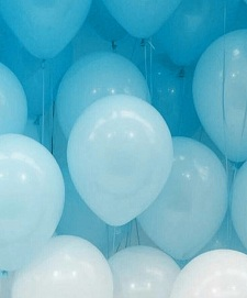 20 Gas filled shades of blue white Balloons tied to ribbons