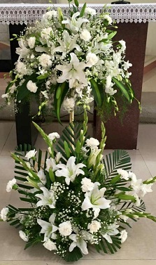 White Liliums White Carnations in 2 Tier