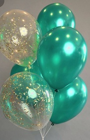 15 Gas filled confetti green Balloons tied to ribbons