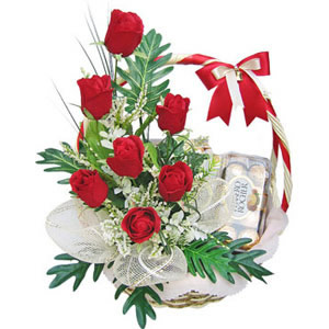 6 red roses and 16 ferrero rocher chocolates in a basket